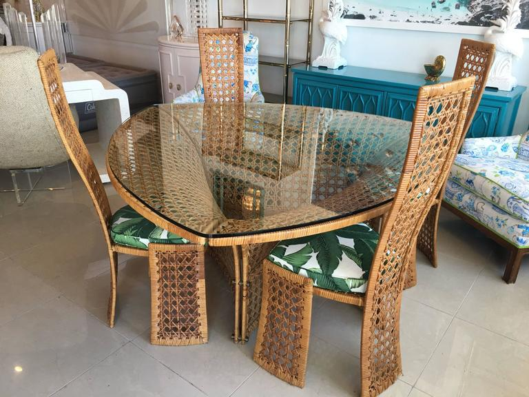 Danny Ho Fong Dining Table Set Four Side Chairs Rattan Wicker Tropical  Bamboo