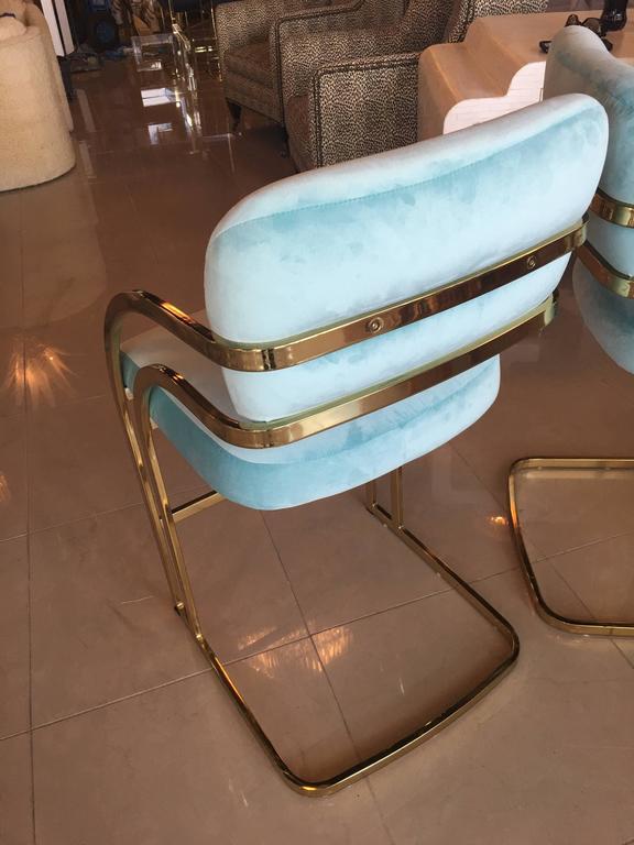 Set Of 4 Brass Cantilever Counter Stools Blue Velvet