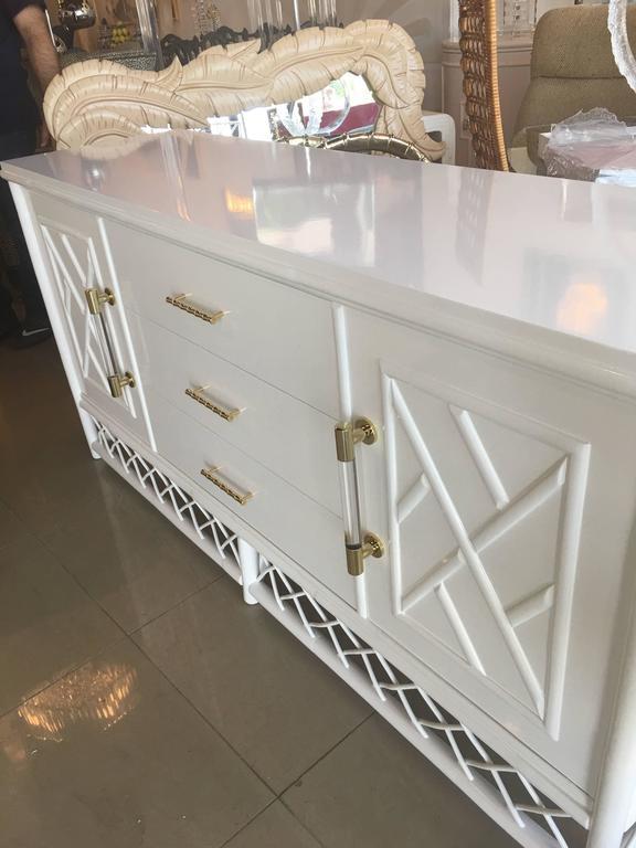 Lacquered Credenza Sideboard Buffet Dresser Vintage Rattan