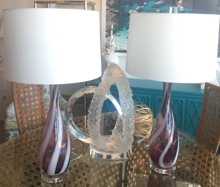 Pair of murano 1950s vintage glass italian table lamps swirl lucite amazing pair of vintage 1950s italian murano glass table lamps amethyst purple and white swirl greentooth Choice Image