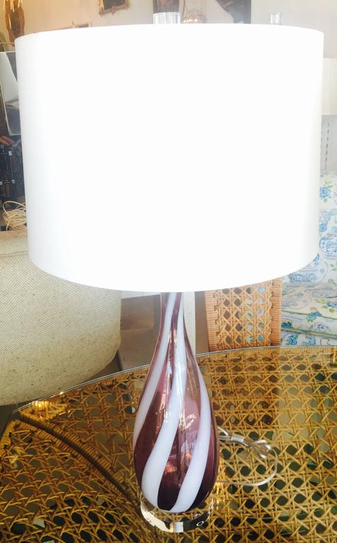 Mid-20th Century Pair Amethyst Purple Murano Vintage Glass Italian Table Lamps Lucite Chrome For Sale