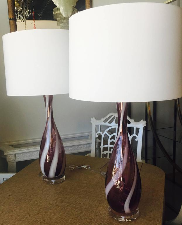 Pair Amethyst Purple Murano Vintage Glass Italian Table Lamps Lucite Chrome For Sale 2
