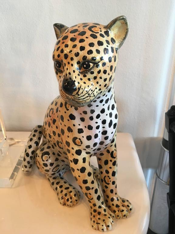 Italian Cheetah Ceramic Statue Vintage Made In Italy