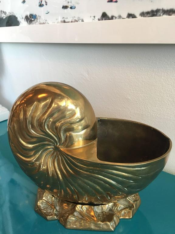 Large Brass Nautilus Planter Seashell Shell Vintage Statue