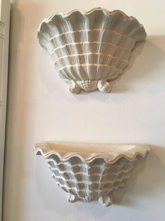 Pair Of Serge Roche Style Wall Sconces Plaster Seashell