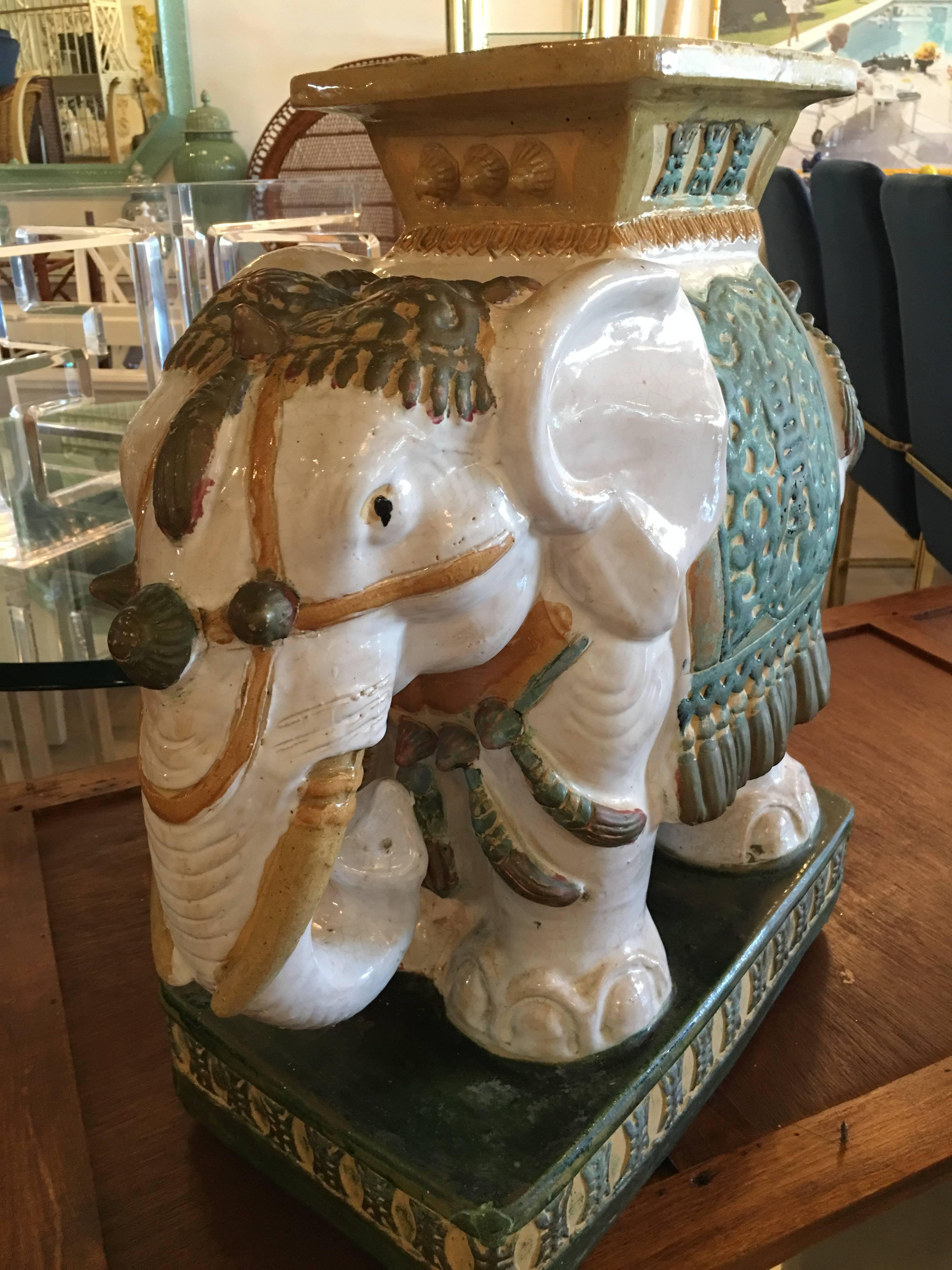 Elephant Garden Stool Stand Vintage Vietnam Hollywood Regency at 1stdibs