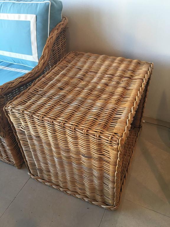 Four Piece Woven Rattan Wicker Patio Sunroom Set Sofa