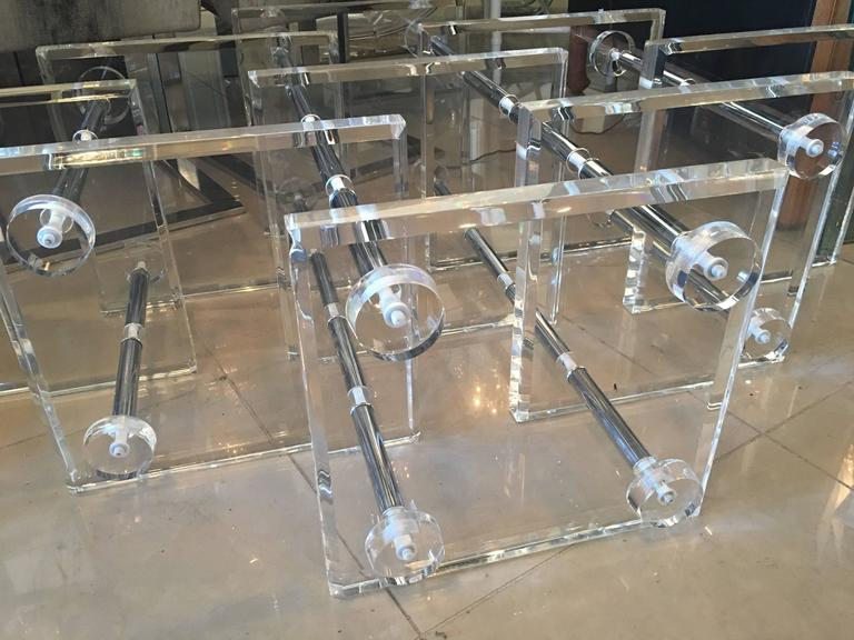 Lucite and Chrome Coffee Cocktail Table Monumental Hollywood Regency Vintage 3