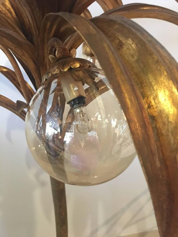 Palm Tree Floor Lamp Light Brass Gold Tropical Palm Beach