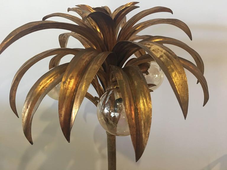 palm tree floor lamp light brass gold tropical palm beach vintage 2
