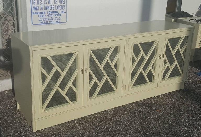 Late 20th Century Faux Bamboo Chinese Chippendale Credenza Buffet Dresser Choice of Lacquer For Sale