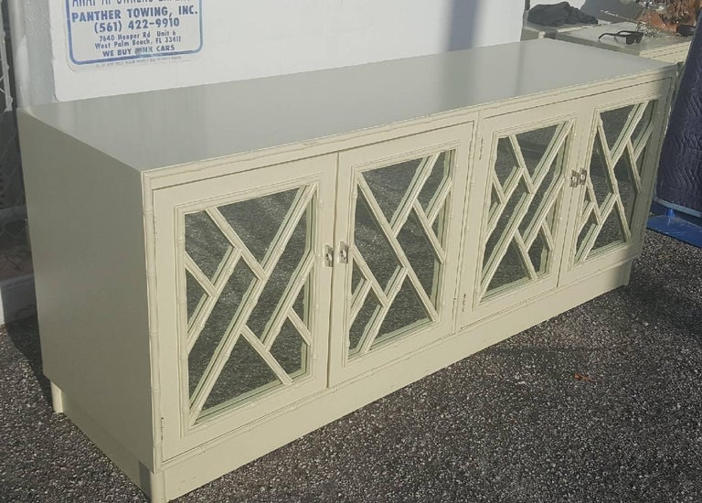 Faux Bamboo Chinese Chippendale Credenza Buffet Dresser Choice of Lacquer For Sale 1