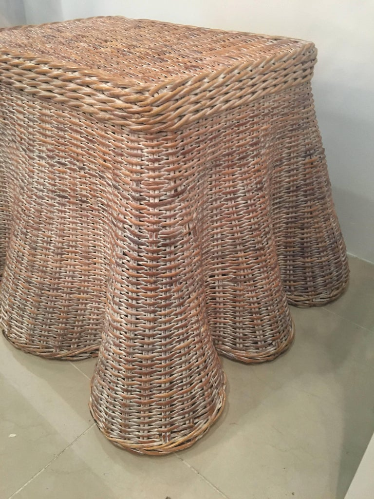 Draped Wicker Coffee Cocktail Or End Table Vintage For