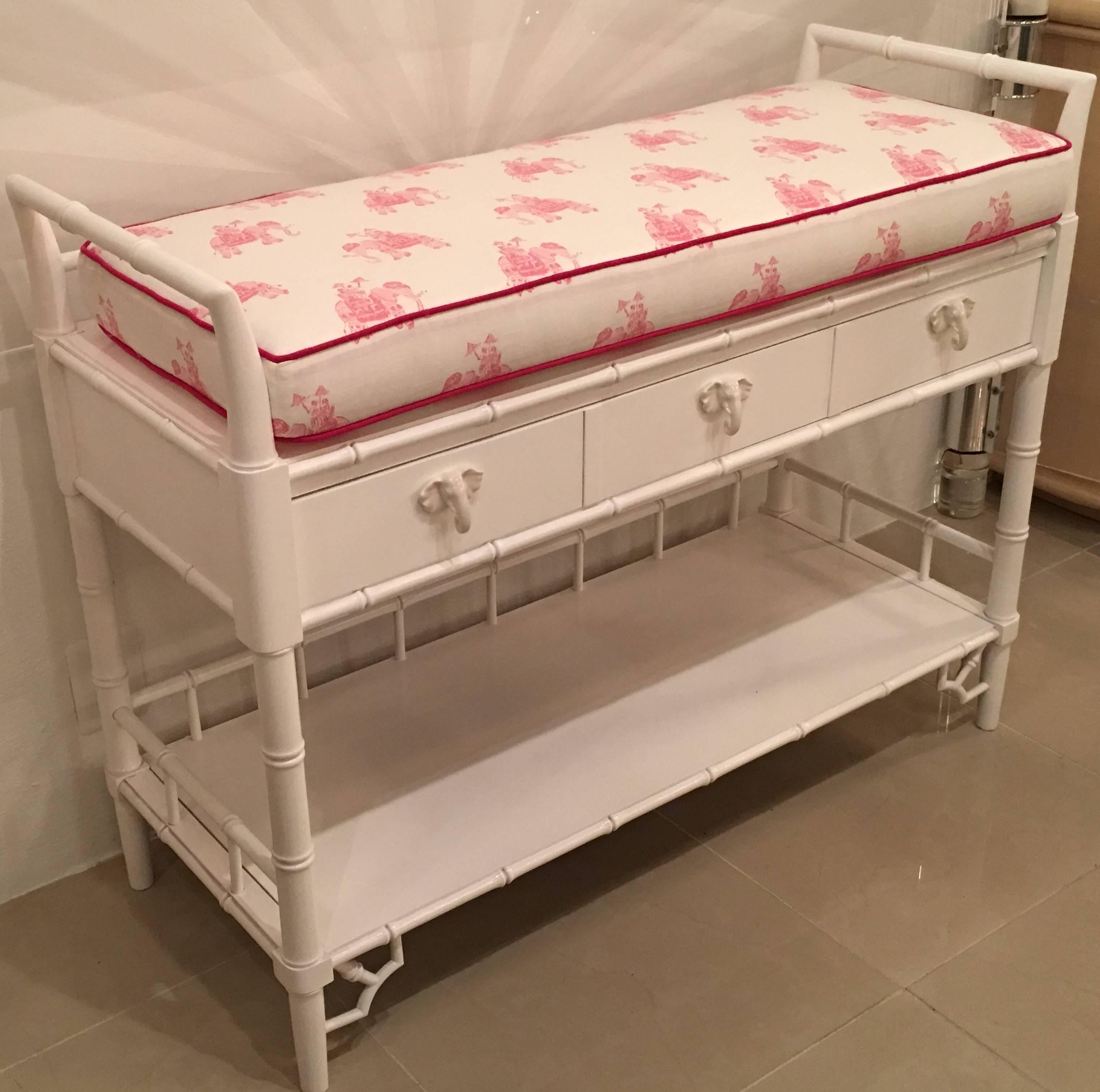 Hollywood Regency Faux Bamboo Baby Changing Table Lilly Pulitzer Elephant  Pink Lacquered Girl For Sale