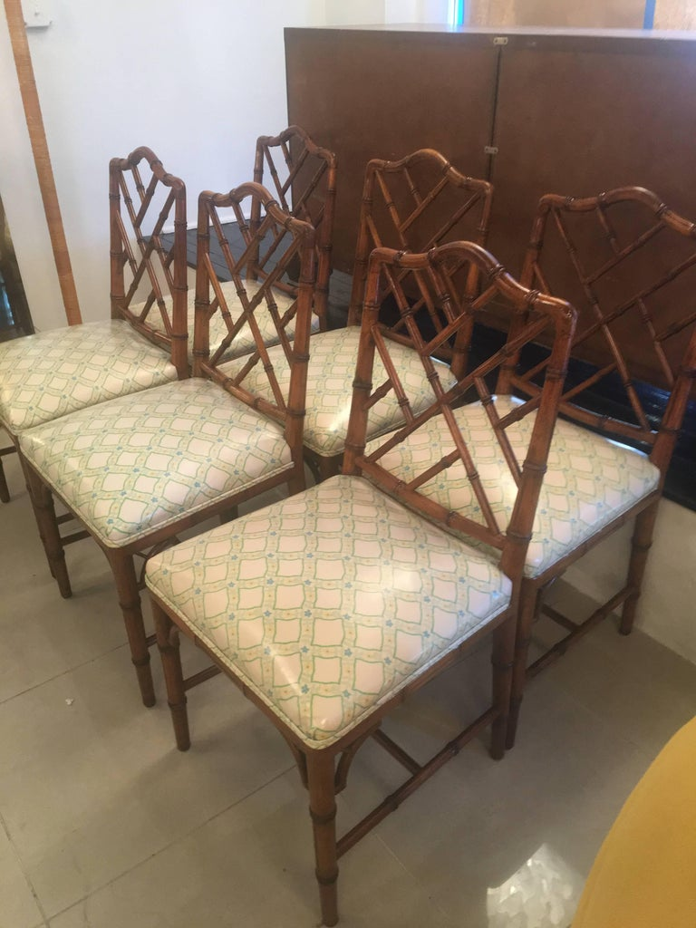 Faux Bamboo Chinese Chippendale Side Dining Chairs By Century Set Of