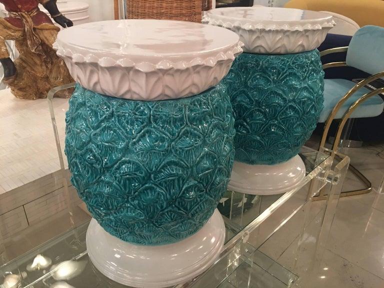 Glazed Terra Cora Pineapple Garden Stools Stands Italian