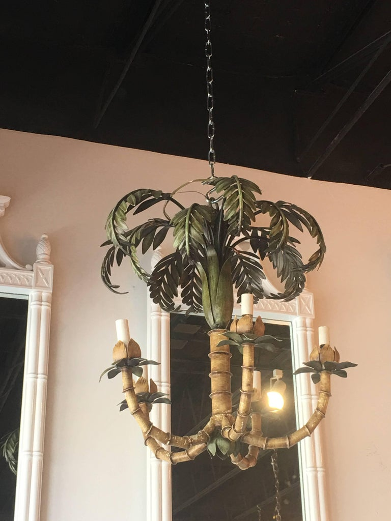 Hollywood Regency Vintage Palm Tree Frond Leaf Leaves Chandelier Metal Tole Palm Beach For Sale