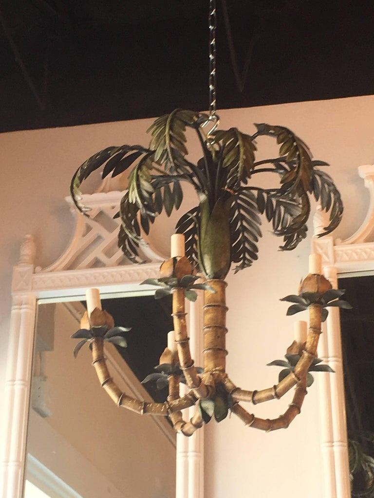 Vintage Palm Tree Frond Leaf Leaves Chandelier Metal Tole Palm Beach For Sale 1