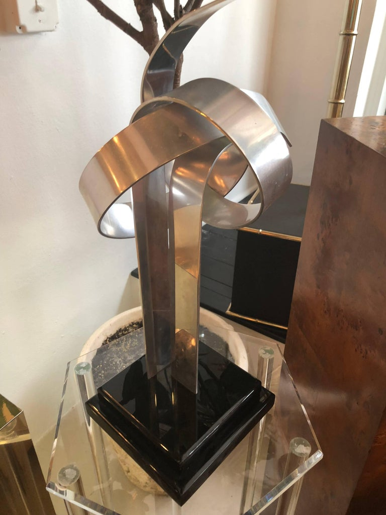 Signed Van Teal Aluminum Geometric Abstract Statue Sculpture In Good Condition For Sale In West Palm Beach, FL