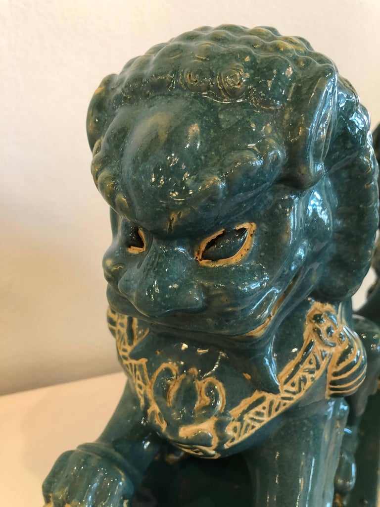 Pair vintage Teal Foo Dogs Hollywood Regency Chinoiserie For Sale 2