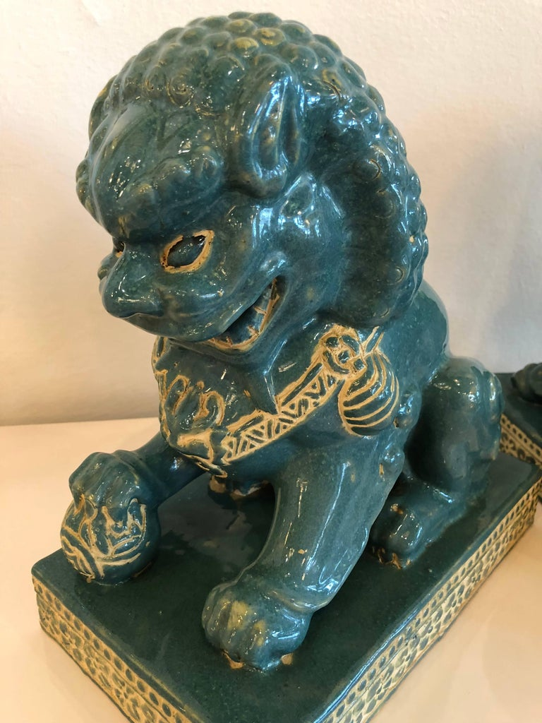 Pair vintage Teal Foo Dogs Hollywood Regency Chinoiserie For Sale 3