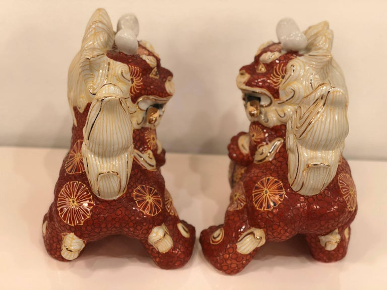 Mid-20th Century Pair of Foo Dogs Made in Japan Chinoiserie Vintage For Sale