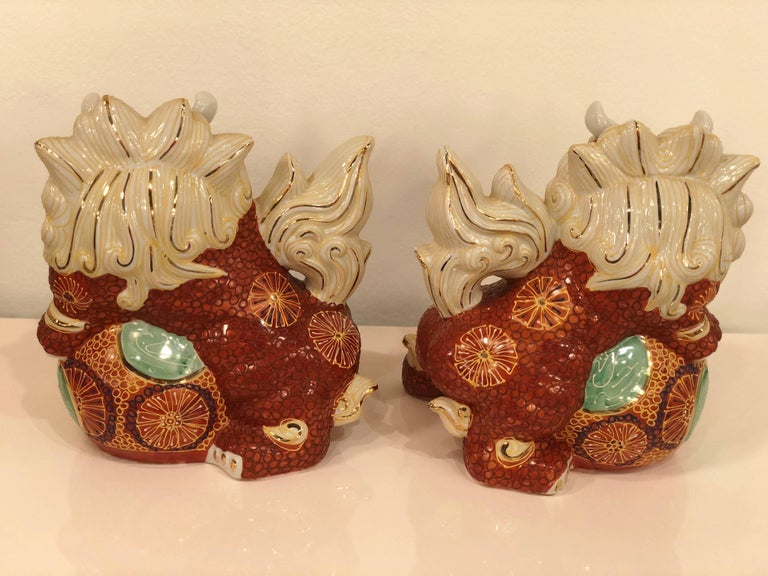 Pair of Foo Dogs Made in Japan Chinoiserie Vintage For Sale 2