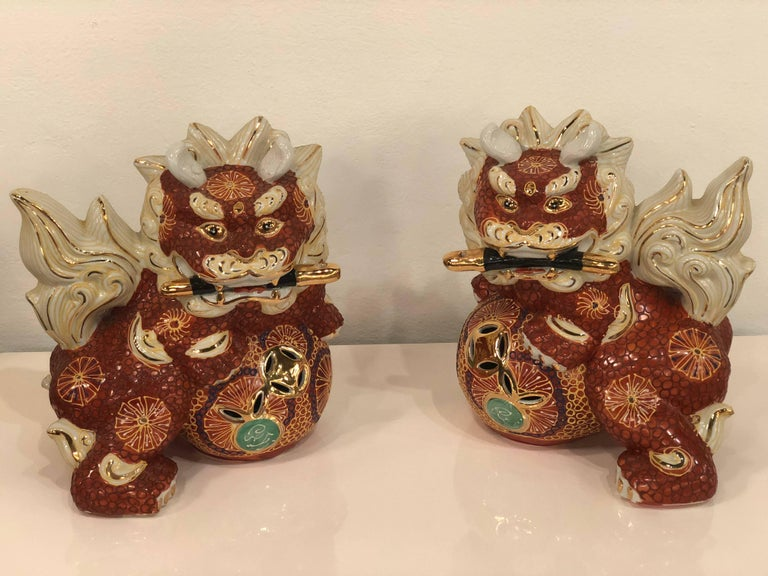 Japanese Pair of Foo Dogs Made in Japan Chinoiserie Vintage For Sale