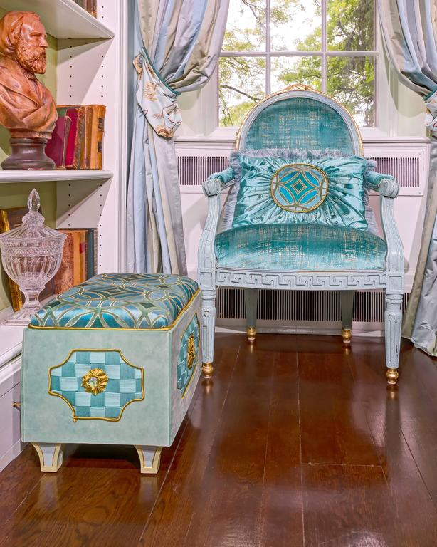 French Style Chair Covered In Exclusive Blue Velvet With