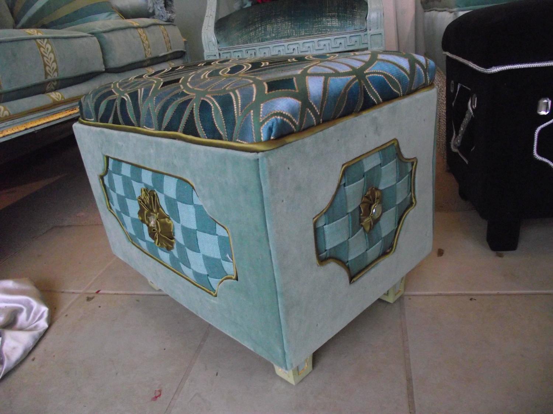 Jewel Box Ottoman With Woven Fabric Checker Board Center