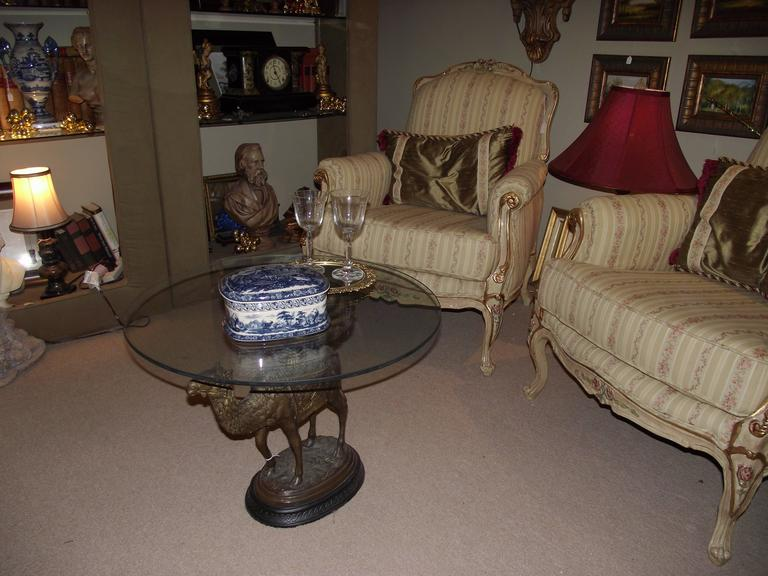 Bronze camel center piece or table base at 1stdibs for Cuir center table basse