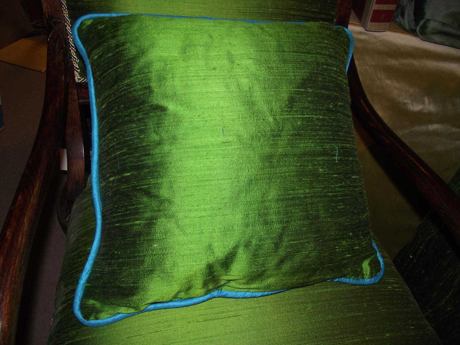 Green Silk Throw Pillow : Throw Pillow of Turquoise Blue and Green Silk and Velvet In Diagonal Stripe For Sale at 1stdibs