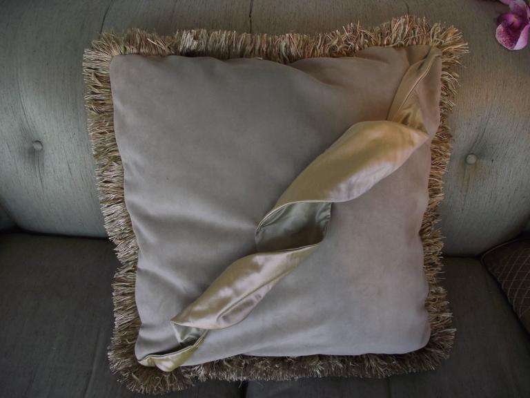This original designed pillow is made with 100,000 double rub pale sage velvet.   The Squiggle design is made with two shades of silk. It is attached at strategic points and is wired to be reshaped into its original three dimensional shape when