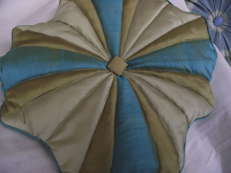 Throw Pillow/Unusual Turquoise Blue and Gold Silk, Quilted Flower Design For Sale at 1stdibs