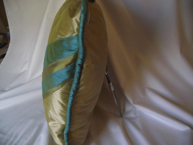 American Art Deco Throw Pillow, Original Designed Throw Pillow, Blue and Green Pillow For Sale