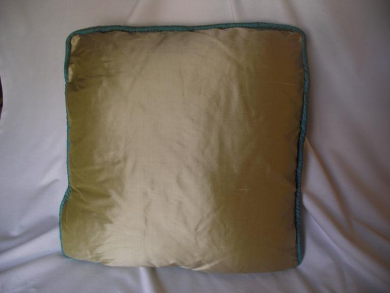 Art Deco Throw Pillow, Original Designed Throw Pillow, Blue and Green Pillow In Excellent Condition For Sale In Harrisburg, PA