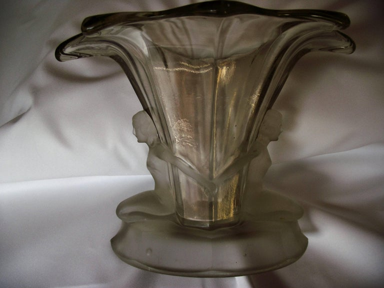Art Deco Clear Glass Vase Antique Walther And Sohne Figural Glass