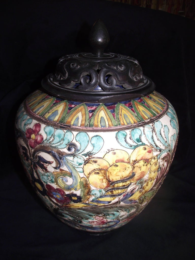 Antique Italian Majolica Jar With Hand Carved Wooden Lid