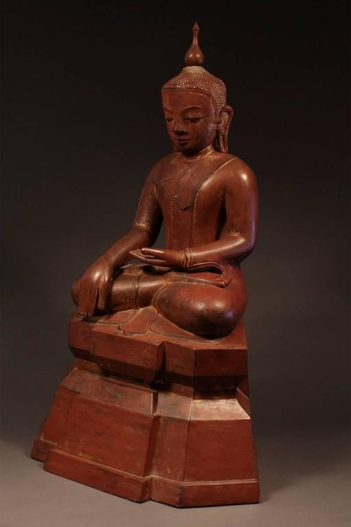 Burmese 19th Century Carved Wood Seated Buddha, Burma (Myanmar) For Sale