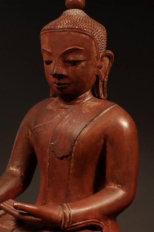 19th Century Carved Wood Seated Buddha, Burma (Myanmar) For Sale 1