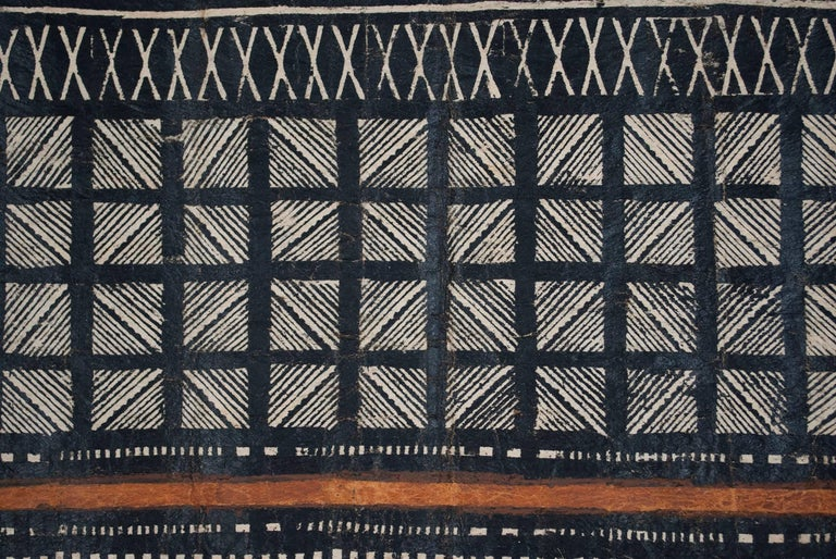 Vegetable Dyed Mid-20th Century Tribal Tapa Cloth, Fiji For Sale