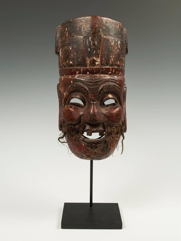 Chinese Late 19th-Early 20th Century Nuo Theater Mask from Southern China For Sale
