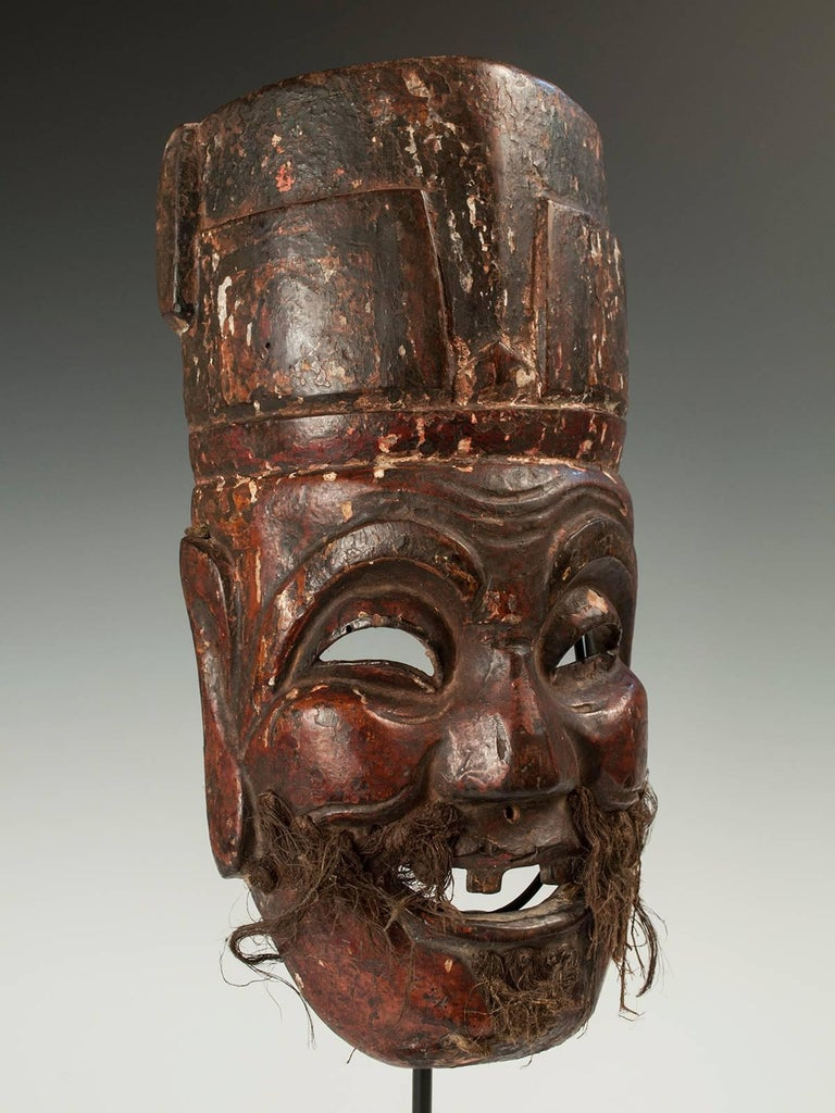 Late 19th-early 20th century Nuo Theater Mask depicting the Lord of the Earth, Tudi Gong