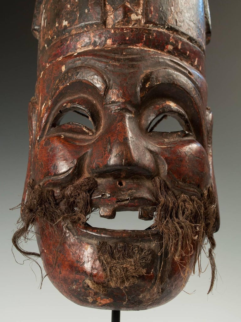 Tribal Late 19th-Early 20th Century Nuo Theater Mask from Southern China For Sale