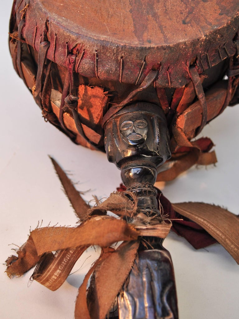 Shaman Drum with Carved Wooden Handle, Nepal Himalaya, Mid-20th Century For Sale 1