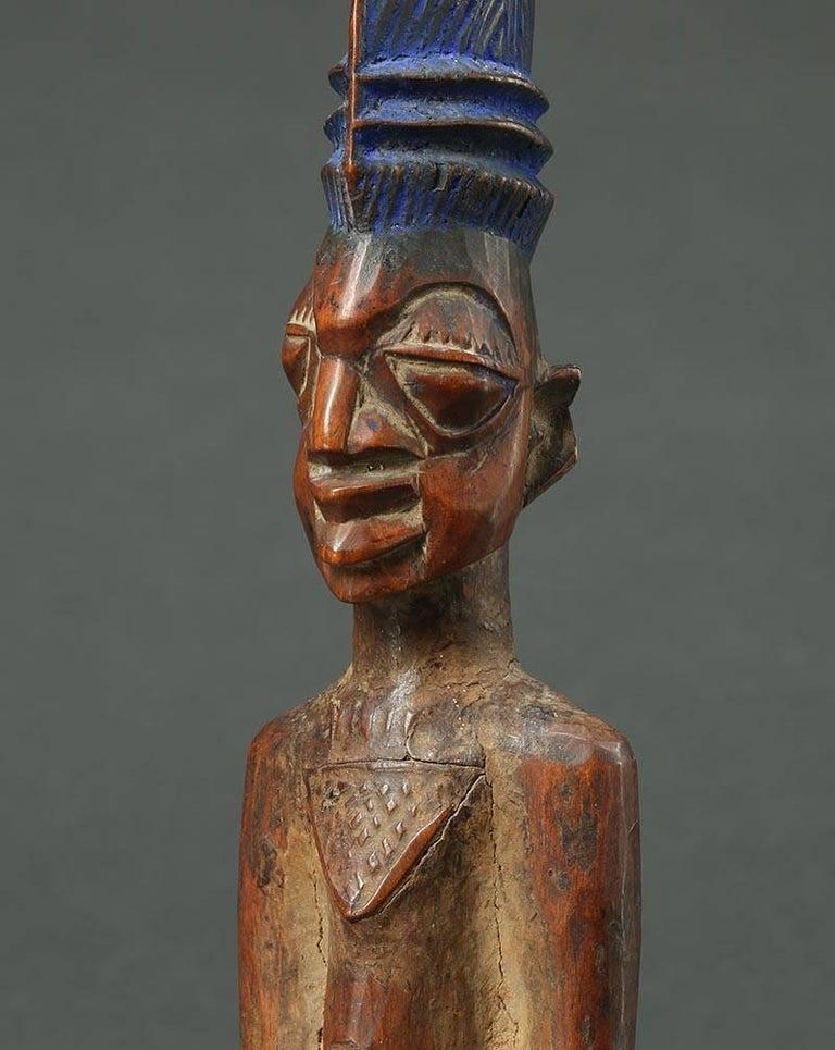 Nigerian Yoruba Male Twin Figure, Ere Ibeji, Nigeria, African Tribal Art Tall Hair Style For Sale