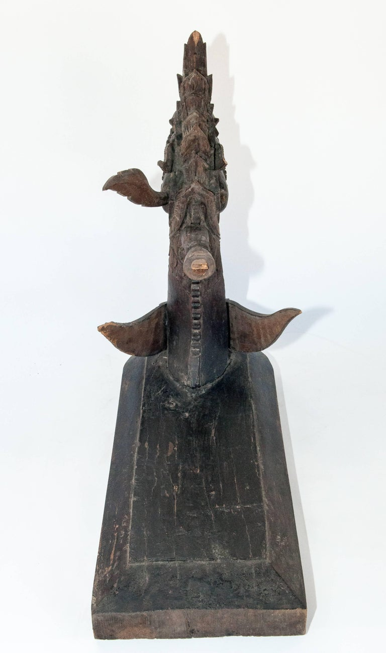 Carved Silk Winding Tool from Laos, Naga Motif, Early-20th Century For Sale 2