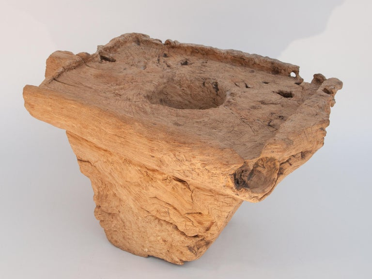 Rustic Old Eroded Teak Burlwood Mortar with Handle, North Thailand, Mid-20th Century For Sale