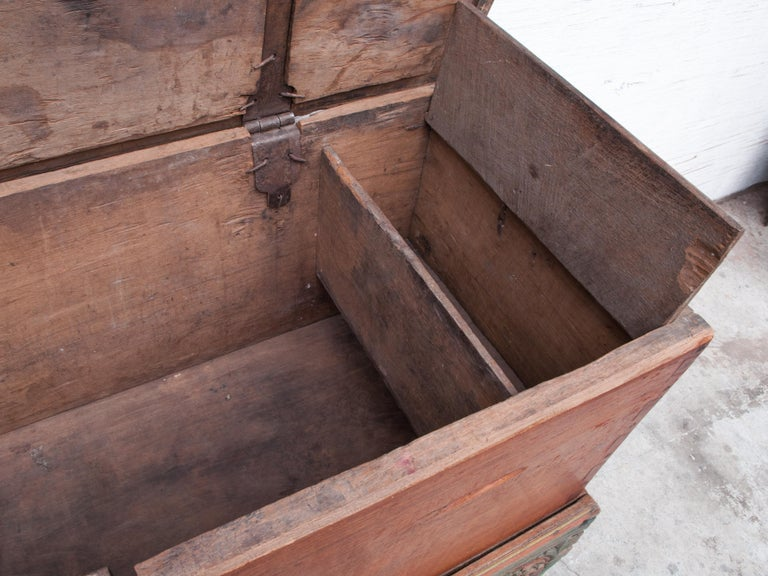 Mid-20th Century Teak Chest on Wheels from Java. Original Color and Hardware. For Sale 10