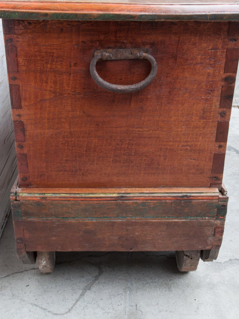 Mid-20th Century Teak Chest on Wheels from Java. Original Color and Hardware. For Sale 6